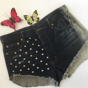 Signature 8 Distressed Festival Stud Denim Shorts